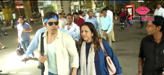 Varun Dhawan spotted with his mum at the airport