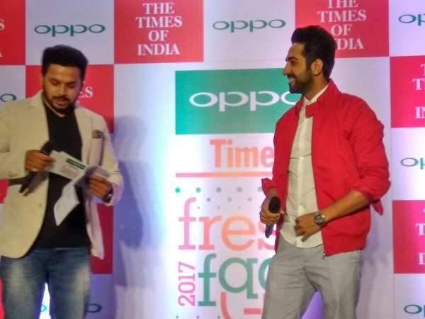 Ayushmann spotted at the launch of the '10th Oppo Times Fresh Face Contest 2017'