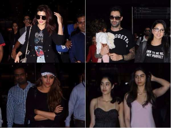 Jacqueline, Anushka and Sunny spotted at the airport
