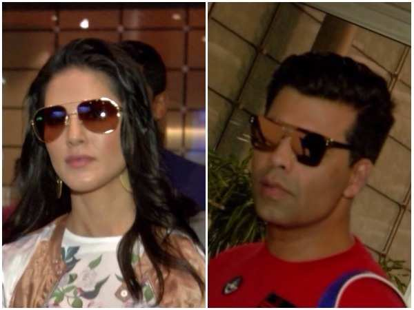 Sunny Leone and Karan Johar spotted at Mumbai airport