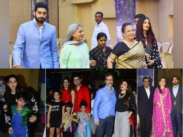 Aishwarya, Abhishek, Raveena, Mukesh, Nita, Sussanne and Karishma spotted at the Annual day function with her family