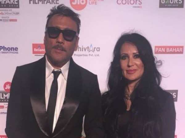 Jackie Shroff and Ayesha Shroff attend the 63rd JioFilmfare Awards 2018