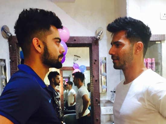 Virat Kohli Check Out Varun Dhawan Gets Virat Kohlis Haircut