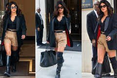 Priyanka Chopra combines khaki shorts with a formal blazer and we are taking notes