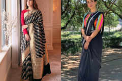 Up your basic black saree game with some superb blouse designs